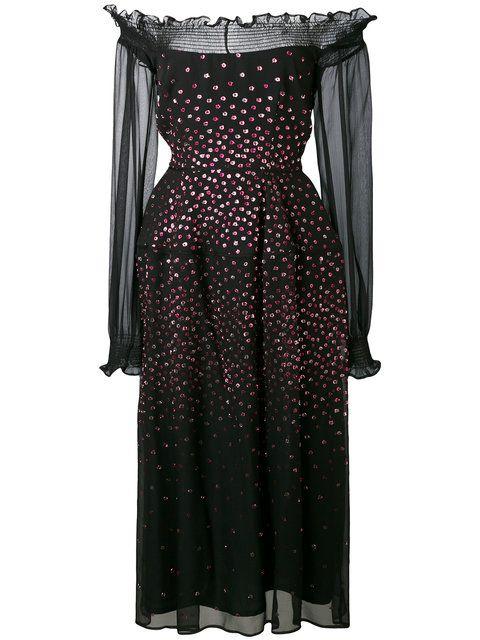 Free Shipping How Much Talbot Runhof metallic dot bardot dress Discount Marketable eoemB
