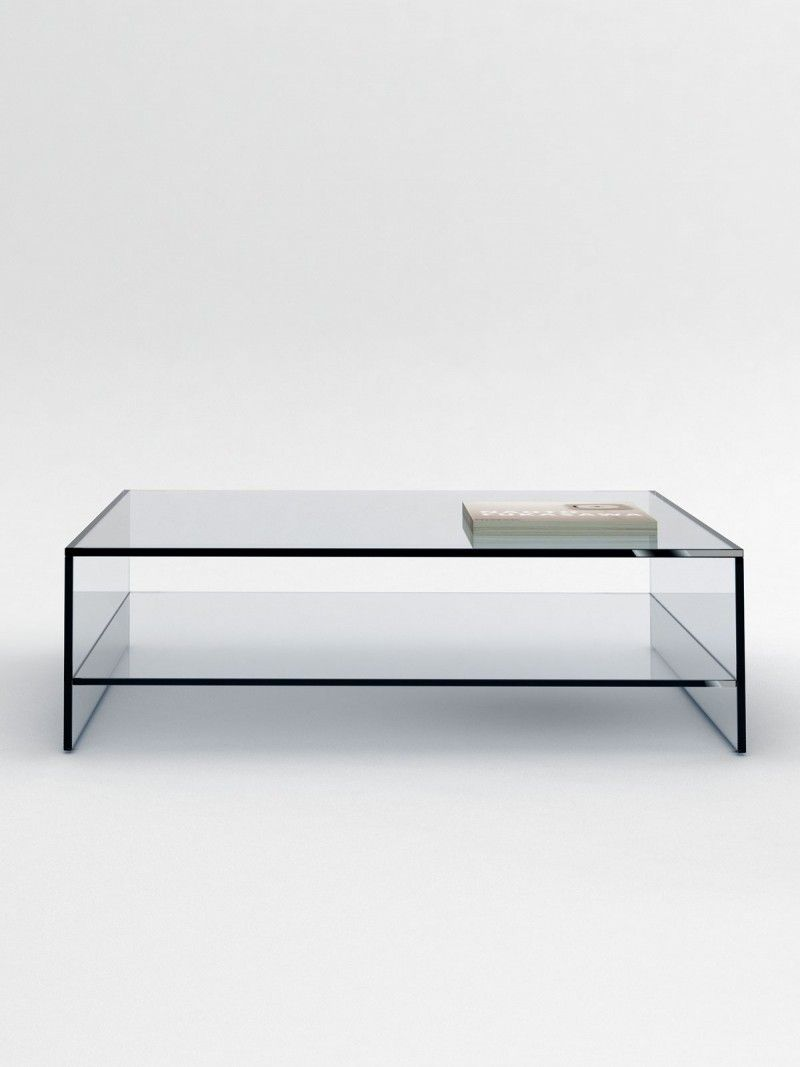 Rectangular Glass Coffee Table: Rectangular Crystal Coffee Table With Shelf