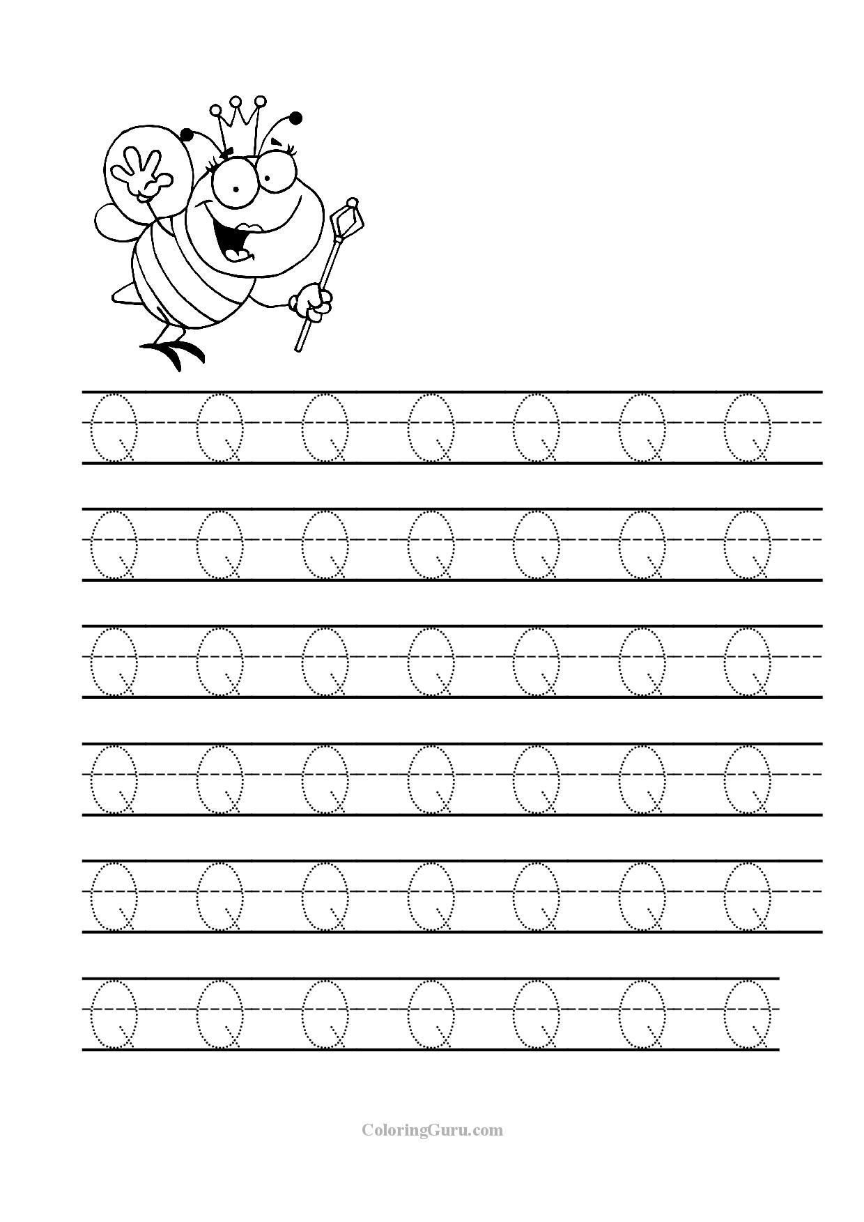 5 Letter Q Coloring Worksheet Online Free Printable