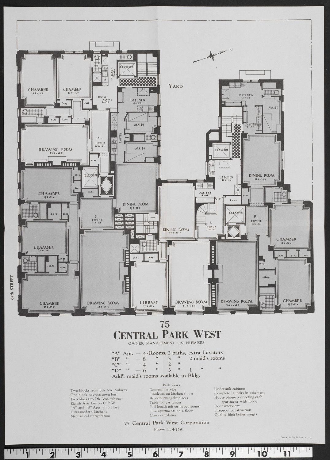 Floor Plan Of 75 Central Park West Constructed In 1928 By Flatiron Building Architect Rosario