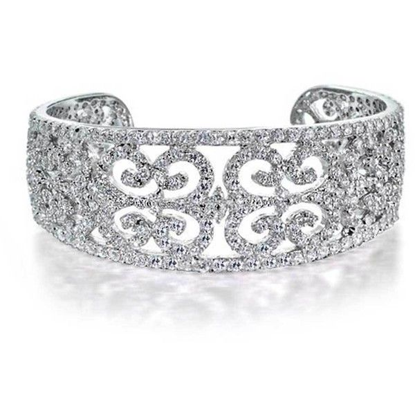 Bling Jewelry Flashy Filigree Cuff (€115) ❤ liked on Polyvore featuring jewelry, bracelets, clear, cuff-bracelets, bridal jewellery, filigree jewelry, bride jewelry, clear jewelry and cuff bracelet