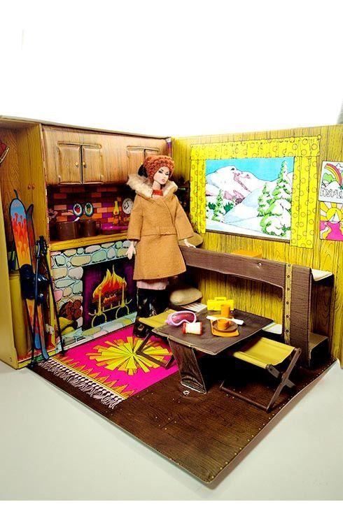 Barbie 1972 Vintage Barbie Mountain Ski Cabin Folding Playset with Accessories. $89.50 via @shopseen