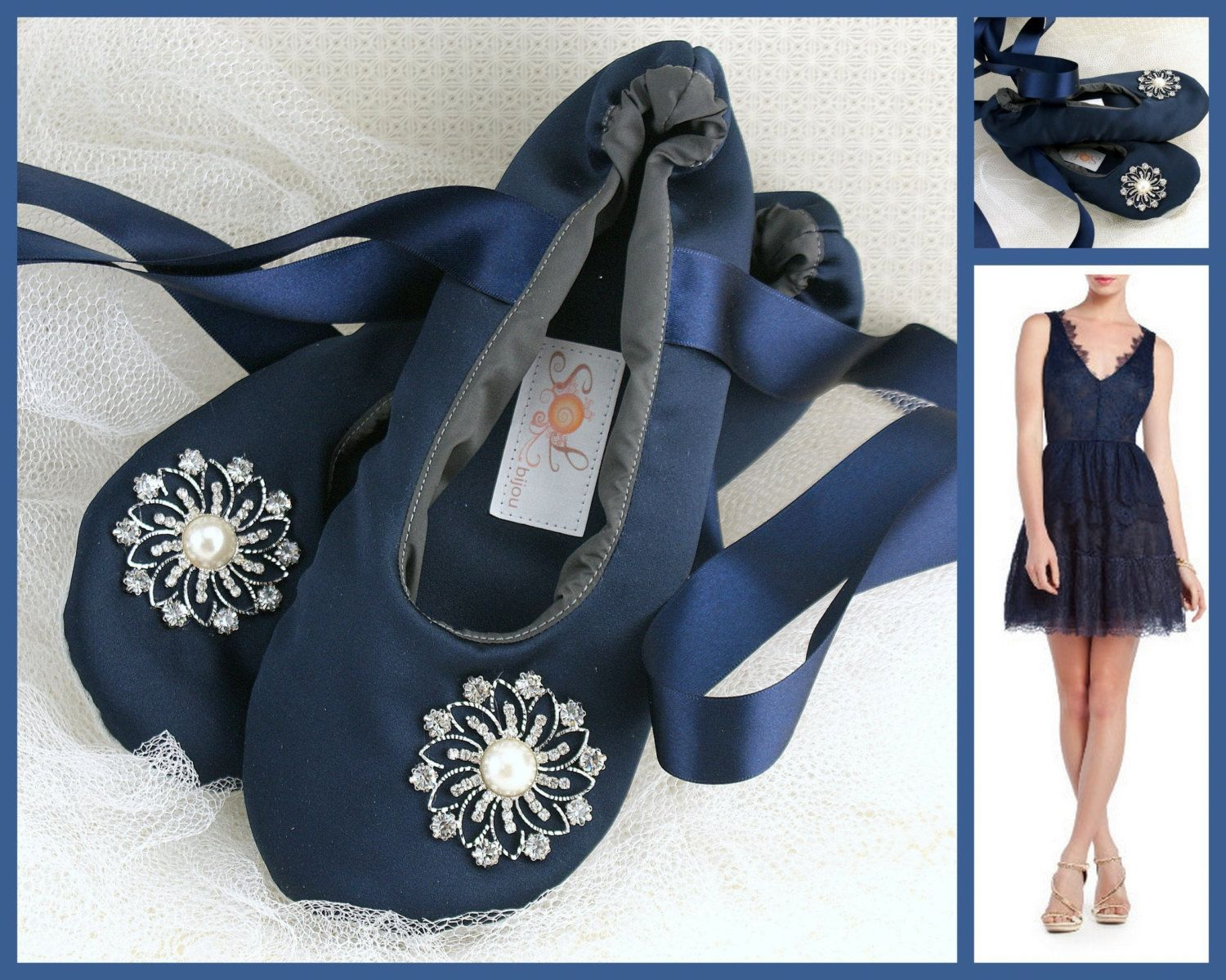 Bridal flats ballerina slippers in navy blue satin with crystal and