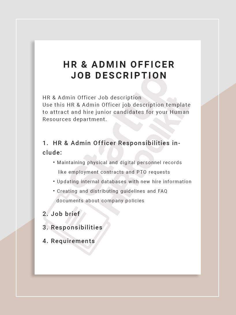 HR & Admin Officer Job description Use this HR & Admin