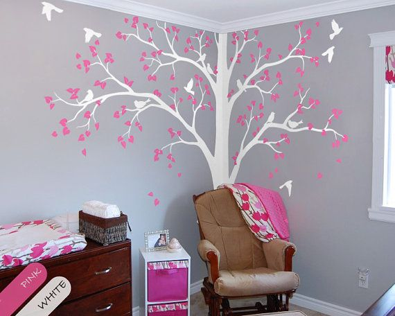 Tree Wall Decal Full Corner Tree Decal Nursery Wall Decoration Tree Wall  Sticker Set Of Two Trees Wall Art Tattoo Wall Mural Decor   086