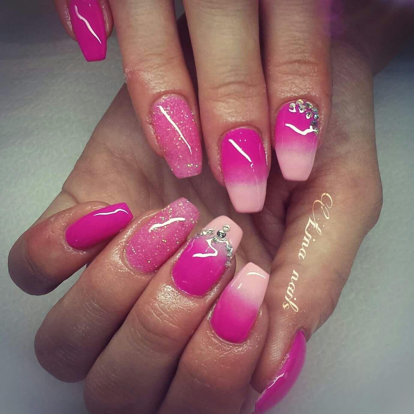 Fucsia spugnato sfumato rosa rosa glitter strass   Unghie ...