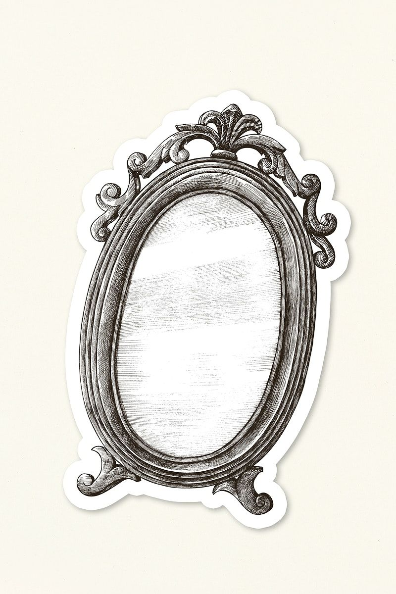 Download Premium Illustration Of Hand Drawn Vintage Mirror Sticker 2416921 In 2020 Mirror Drawings Vintage Mirror Mirror Stickers