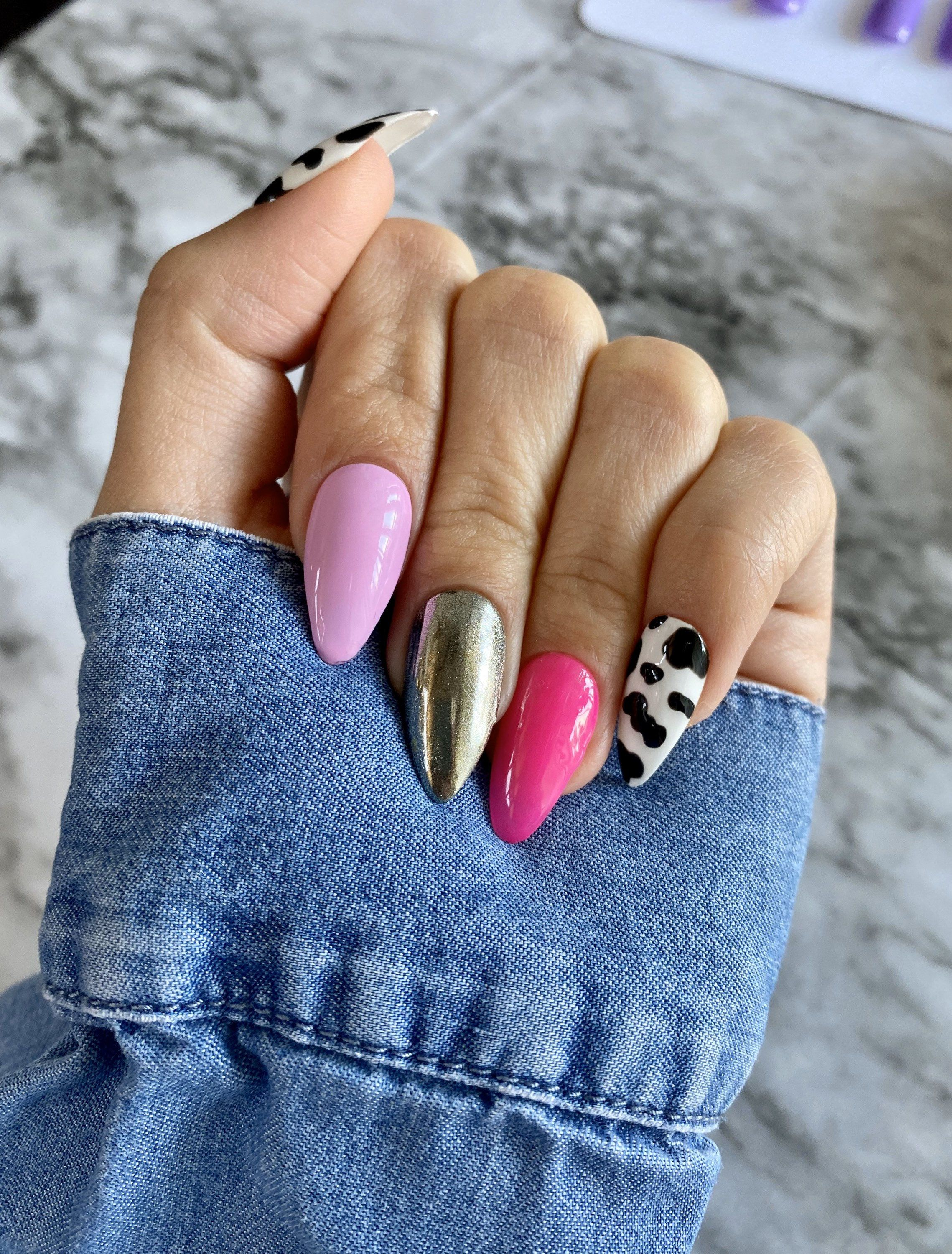 Press On Nails Pink Cow Print Chrome Nails Gel Polish Etsy In 2020 Cow Nails Pink Chrome Nails Press On Nails