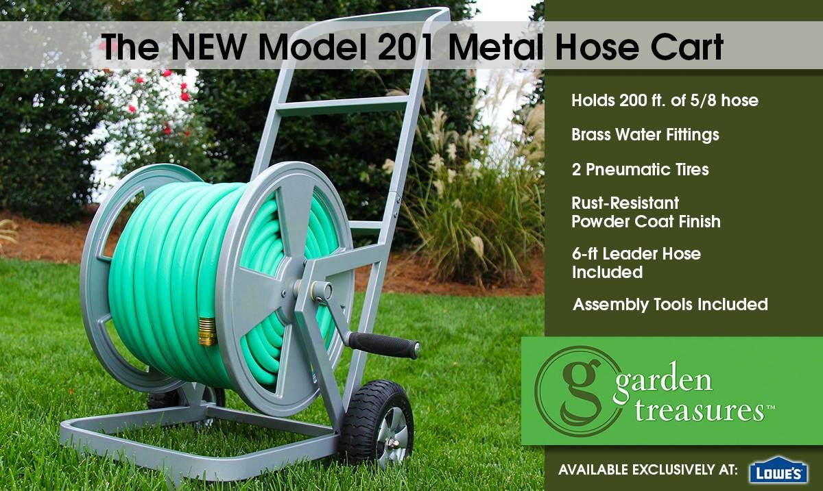 lowes carries the GardenTreasures model 201 hose cart