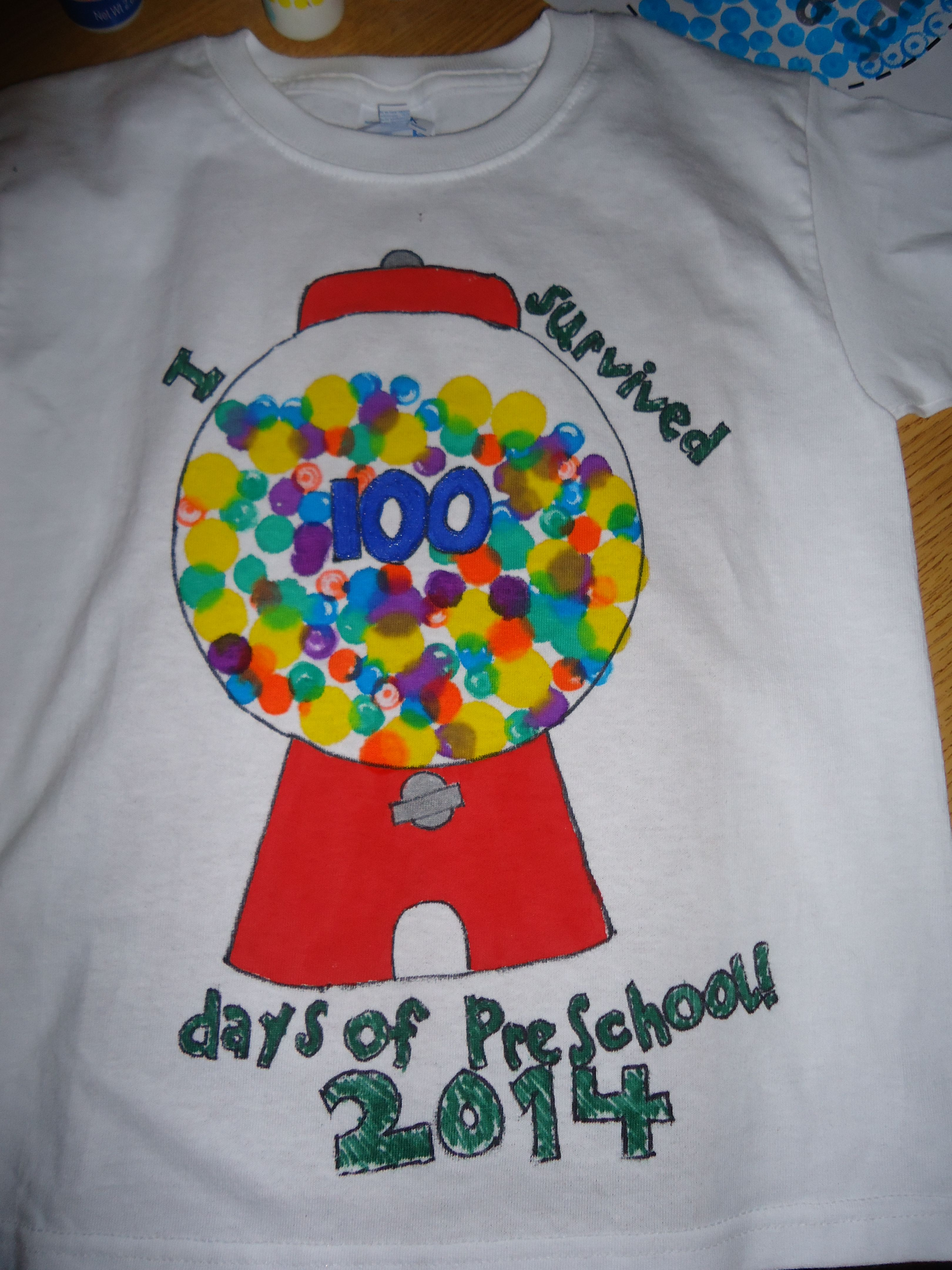 100th Day Of School Bubble Gum Machine T Shirts We Made