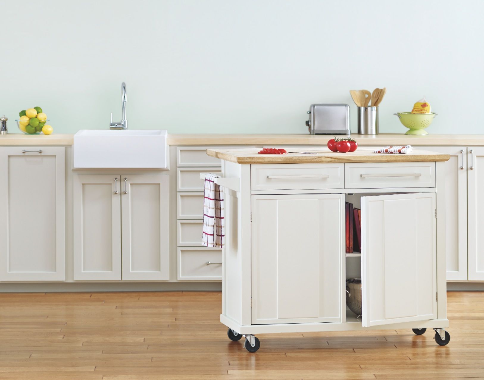 A mobile kitchen island adds instant counter space. | REAL SIMPLE ...