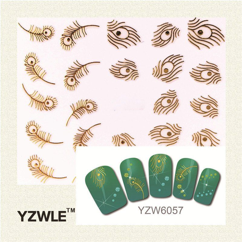 YZWLE 2017 Hot Selling Style 1 Sheet Gold Feather Nail Art Stickers Nail Gold Sticker