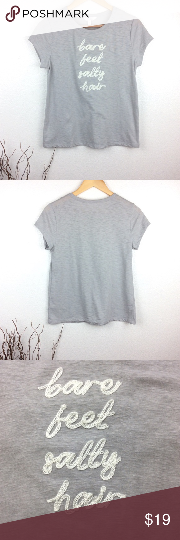 """* Lauren Conrad - Bare Feet Salty Hair - Tee * Lauren Conrad - Bare Feet Salty Hair - Tee. Gray with ivory embroidered lettering. 60% Cotton 40% Polyester. In excellent condition. Size S Approximate measurements from flat: Bust: 17"""" Hip: 19 1/2"""" Length: 23 1/2"""" Sleeve length: 4 3/4"""" **offers always considered** *no trades* LC Lauren Conrad Tops Tees - Short Sleeve #laurenconradhair * Lauren Conrad - Bare Feet Salty Hair - Tee * Lauren Conrad - Bare Feet Salty Hair - Tee. Gray with ivory #laurenconradhair"""