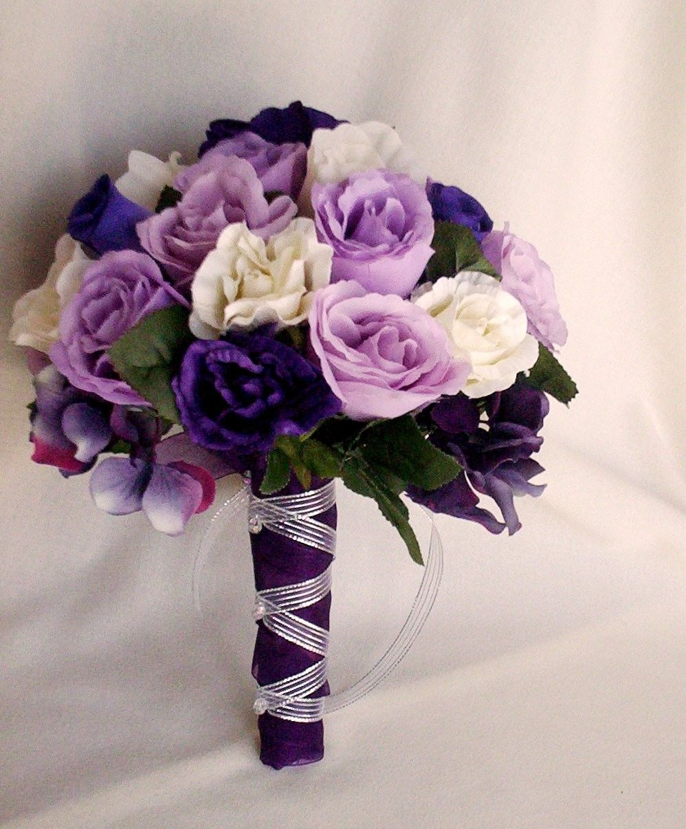 The transparent ribbon entwined in the flower base is unique and items similar to bride bouquet wedding flowers accessories purple lavender silk rose spring bridal bouquet silver ribbon wrap on etsy dhlflorist Image collections