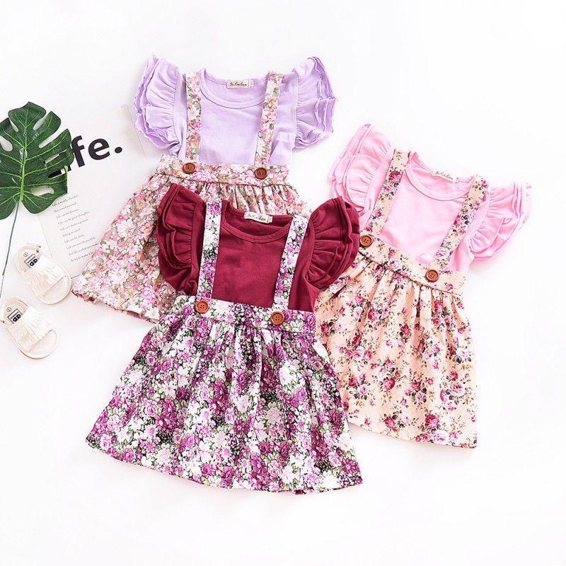 2PCS Infant Kid Baby Girl Floral Casual Dress Ball Princess Tutu Dress+Headband
