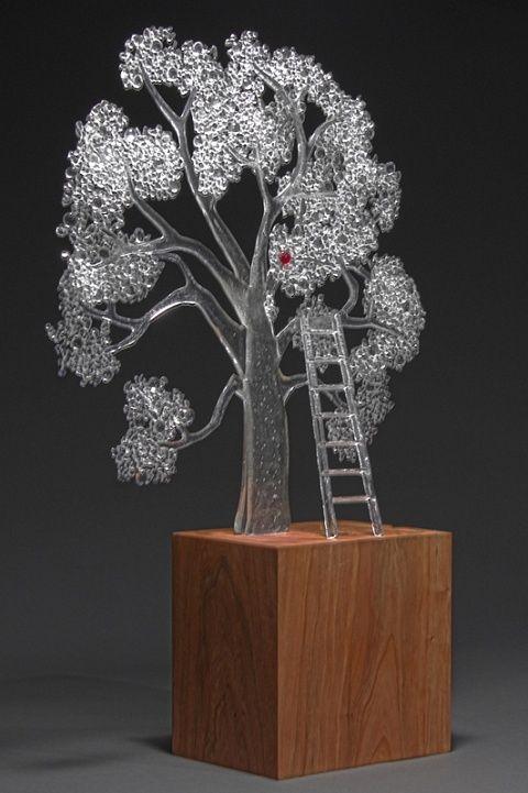 Fused Glass Tree Sculpture