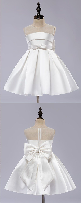 Aline jewel kneelength ivory sleeveless satin flower girl dress