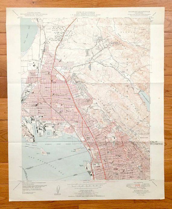 Antique Richmond, California 1949 US Geological Survey ...
