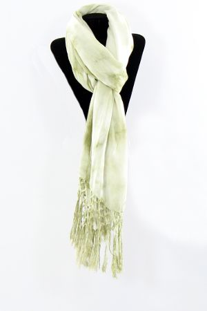 green dyed scarf with fringe