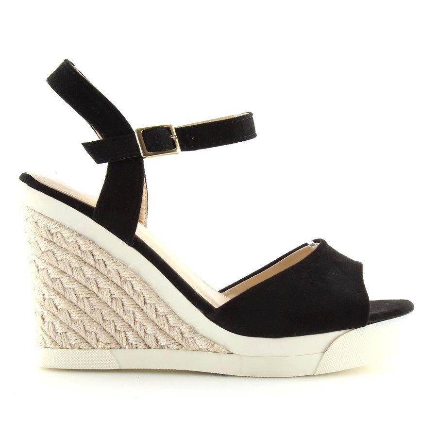 Sportowe Sandalki Na Koturnie Black Czarne Espadrilles Shoes Wedges