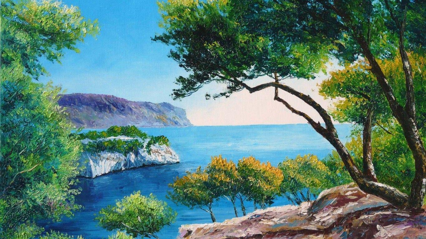 Pastel boya manzara resmi