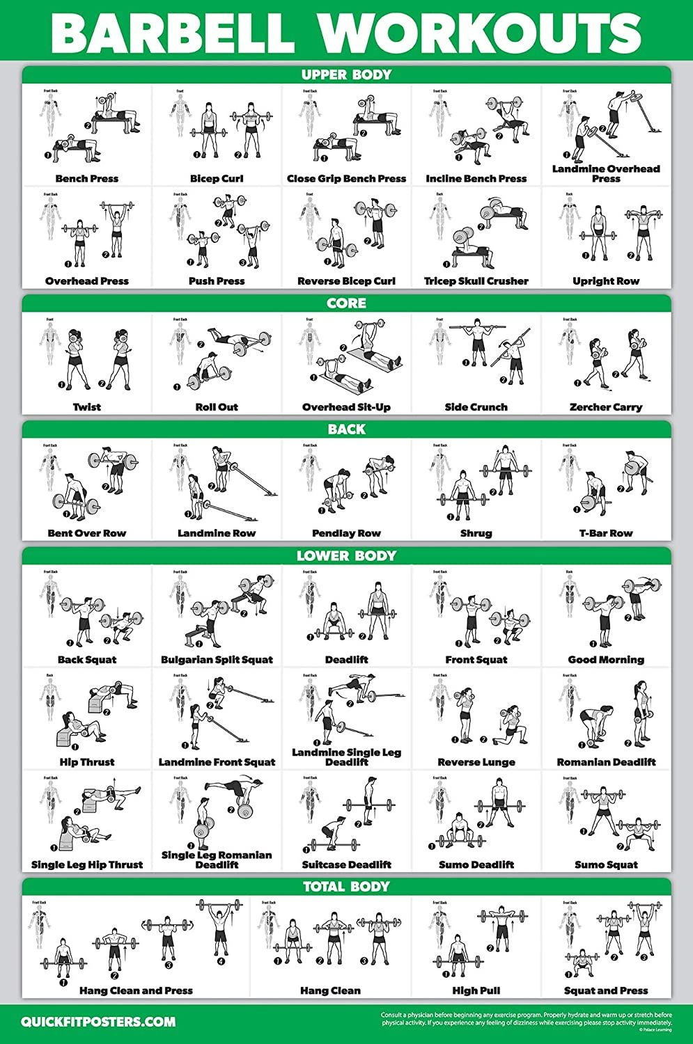 QuickFit Barbell Workout Exercise Poster - Double