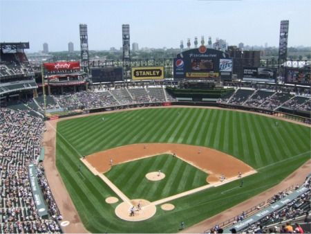 Used To Be Comisky Park When We Were There Now Us Cellular Field Chicago White Sox Us Chicago White Sox Stadium Chicago White Sox Baseball Baseball Stadium