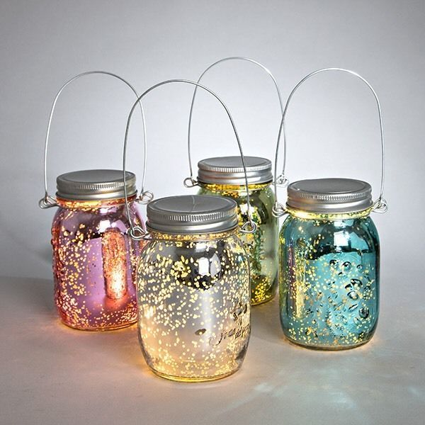 Mercury Glass Mason Jar Battery Operated Hanging Lights Choice Of
