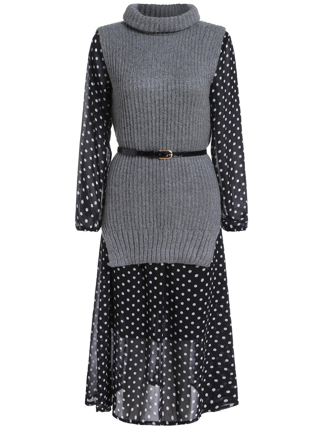 Long Sleeve Polka Dot Dress With Turtleneck Sweater Vest 31.33 ...