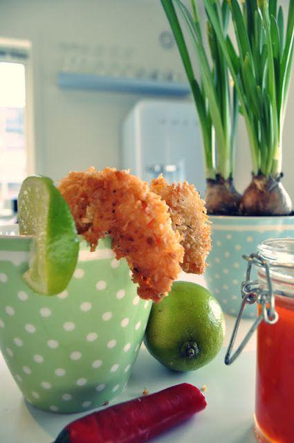reminiscence kitchen: Frityrstekt scampi med kokos