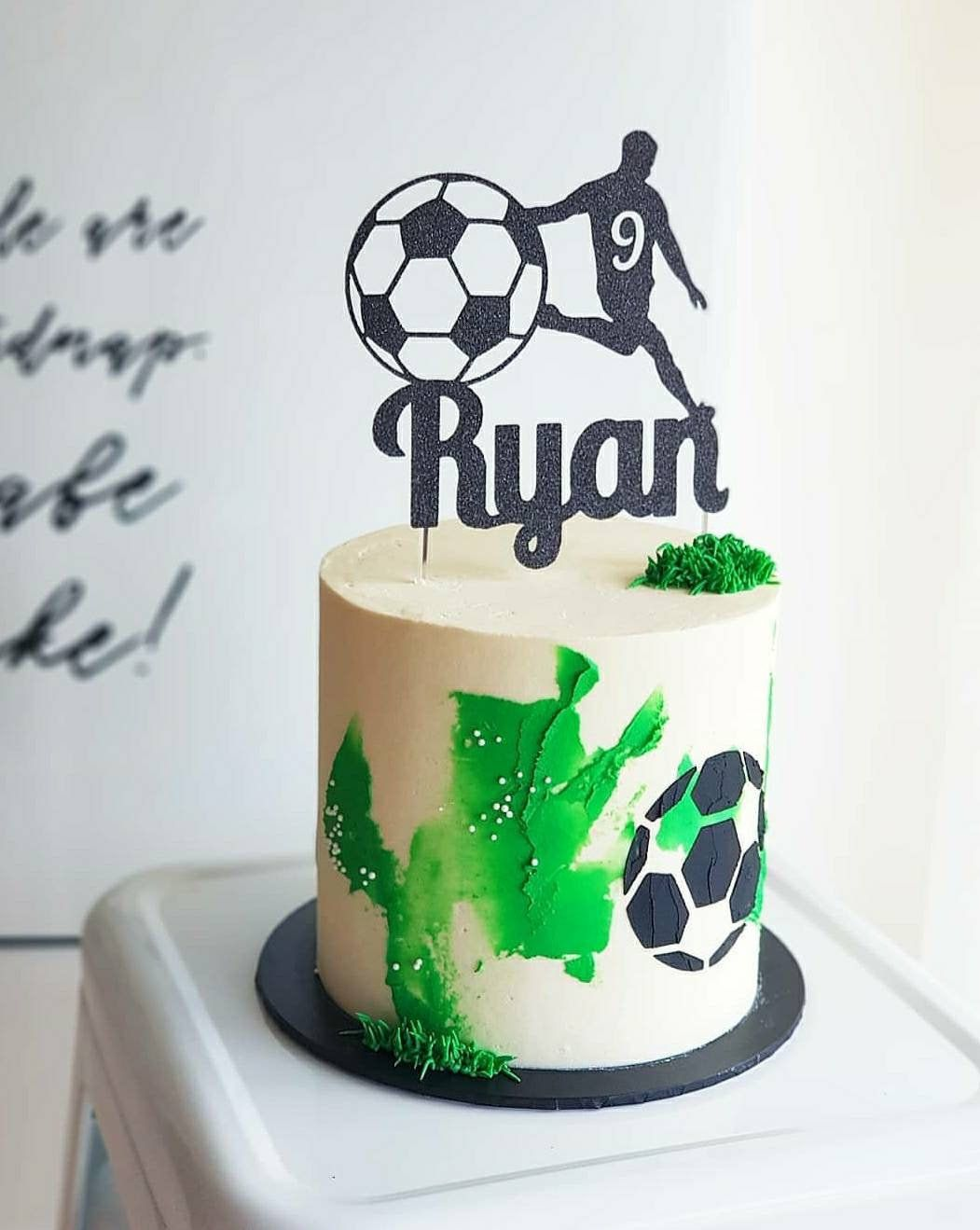 Birthday Card Personalised Football Player Cake topper