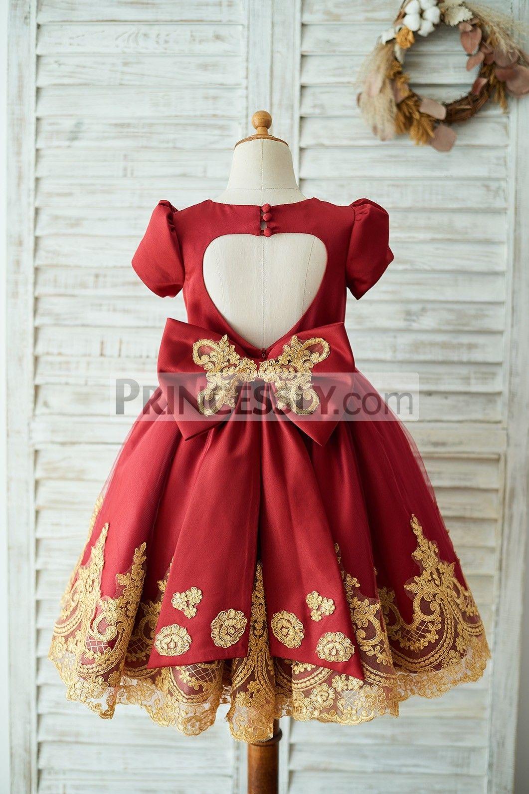 8878e070e Red Satin Gold Lace Short Sleeves Keyhole Back Wedding Flower Girl ...