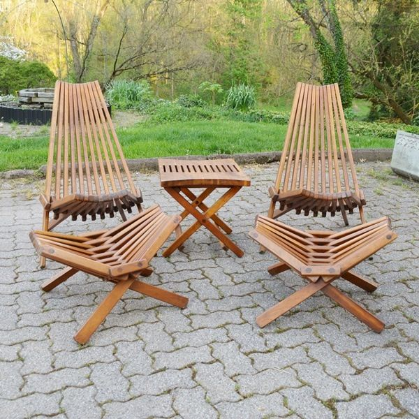 Retro Kentucky Stick Chairs Footstools And Table Outdoor Chairs