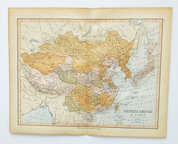 China Map, Japan Map, Antique Map of China and Japan, atlas map, Antique Map of the Chinese Empire, Vintage Map, 19th Century Map,