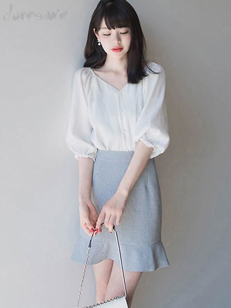b79328f6378004 Doresuwe ブラウス五分袖 膝丈スカート裾フリル 通勤二次会韓国風コーデお呼ばれ20代 30代 おしゃれセットアップ