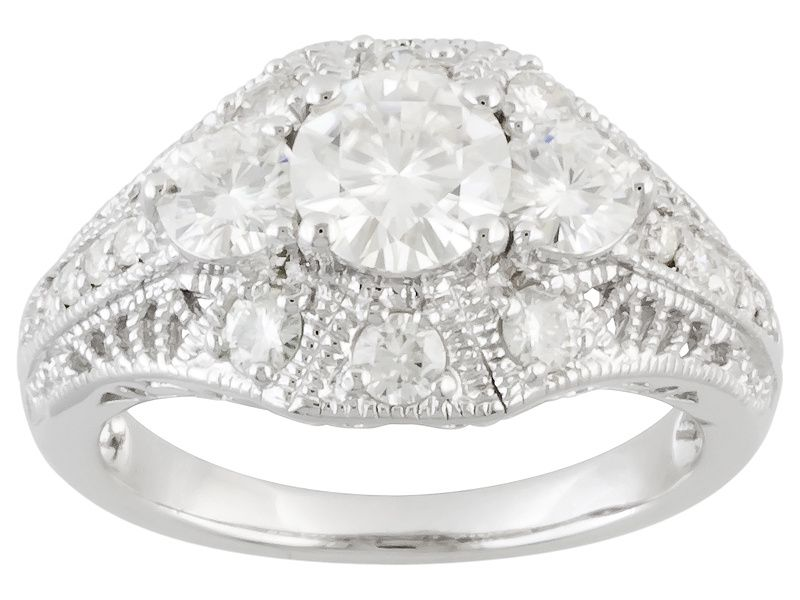 Moissanite Fire Tm 1 52ctw Diamond Equivalent Weight Round Platineve Tm Ring Moissanite Jewelry Jewelry Online Jewelry