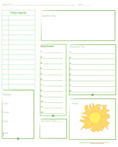 FREE - Daily agenda (available in both pink and green) Planners - daily planner sheets