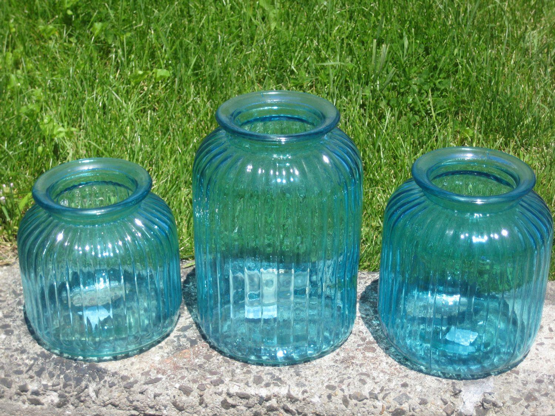 Extra large jumbo aqua blue glass mason jar candleholder