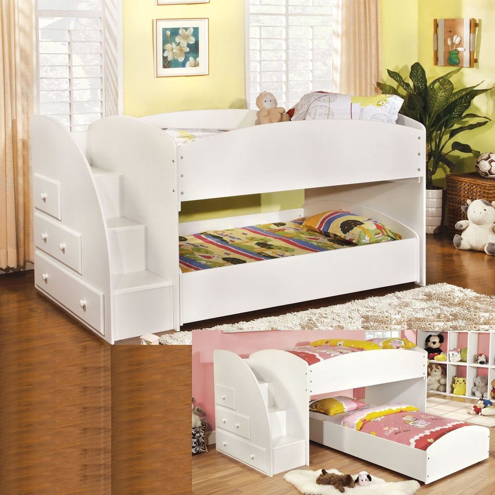 Youth kids wood white low profile step drawers twin twin loft bunk bed bunkbed kidsfurniture
