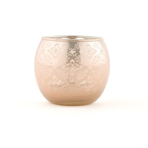 Large Glass Globe Votive Holder With Reflective Lace Pattern Pack of 4