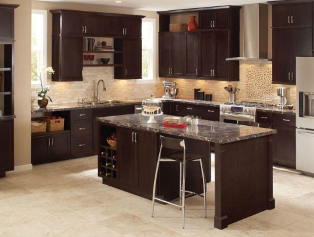 Hampton Bay Shaker Cabinet In Java The Home Depot Brown Kitchen Cabinets Dark Brown Kitchen Cabinets Beautiful Kitchen Cabinets