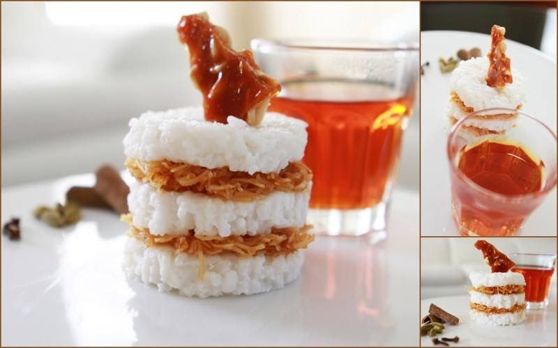 Kiribath stack - Sri Lankan milk rice (kiribath) layered with caramelised scraped coconut topped with a peanut brittle..