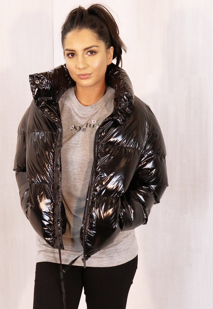 Cropped Padded Shiny Vinyl Puffer Jacket with Funnel Neck