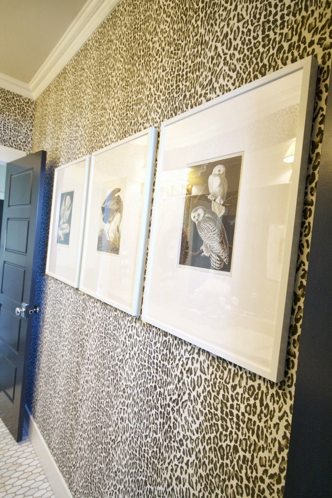 leopard wallpapered bathroom (one week makeover reveal