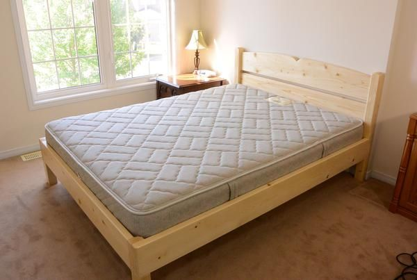 Queen Size Bed From 2x4 Lumber Bed Frames In 2019 Pinterest