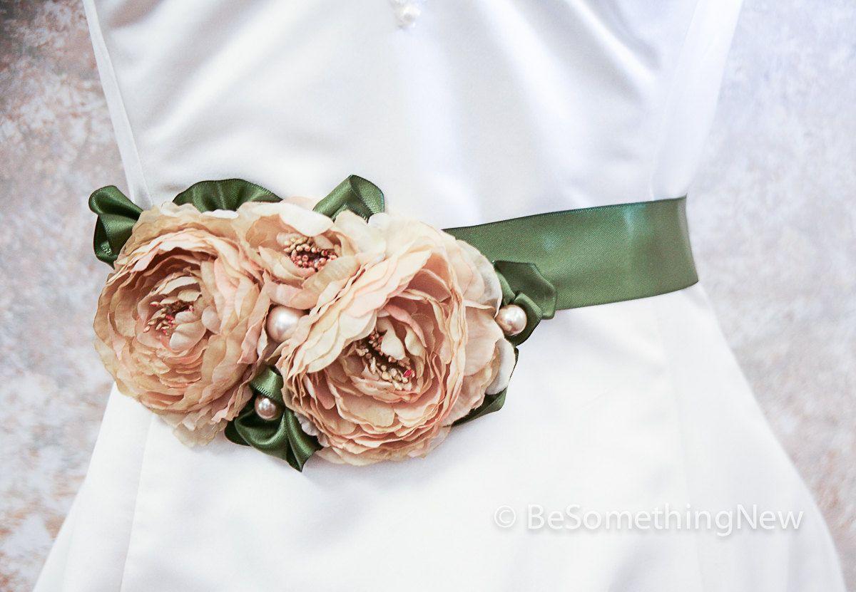 Burlap wedding dress sash  another custom option forest green bridal dress sash with champagne
