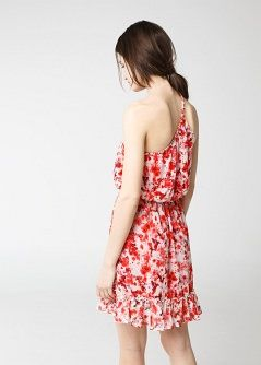 Floral asymmetric dress - Women - MANGO