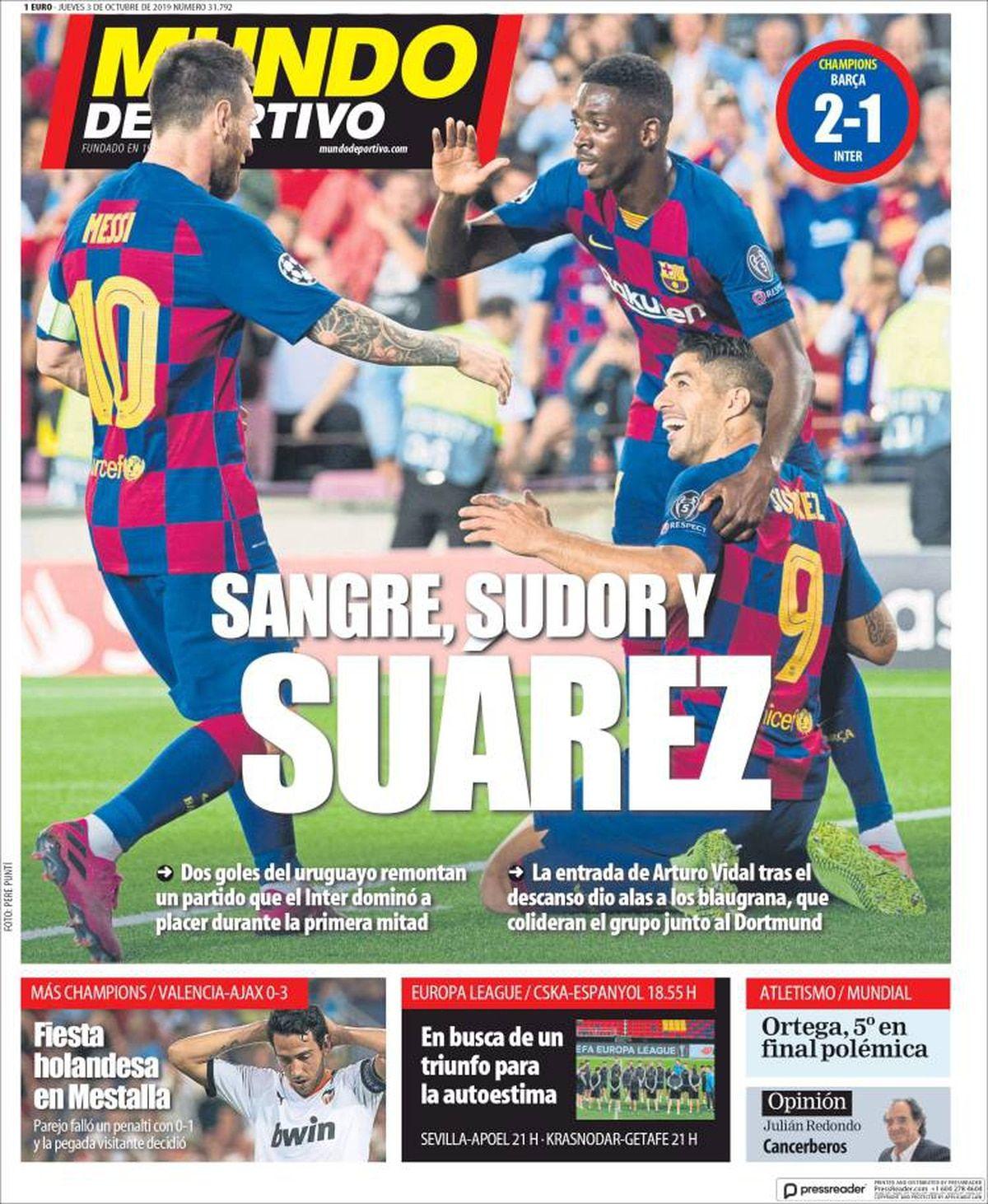 Mundo Deportivo España jueves 3 de octubre de 2019 Mundo