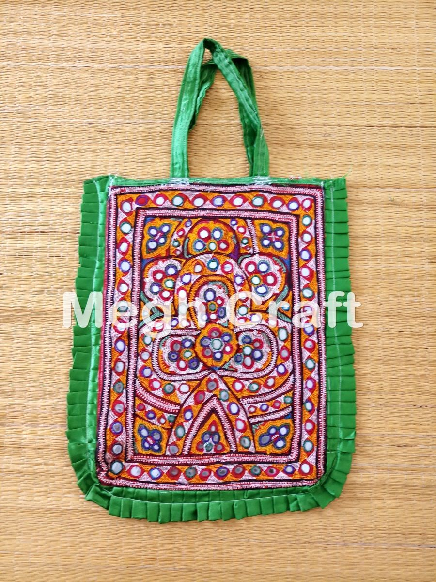 f37a91af5e08 Vintage Mirror Work Tote Bag - Indian Mirror Embroidered Banjara Theli Tote  Bag