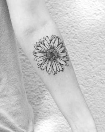 My Sister S Favourite Flower Is The Gerbera Sunflower Tattoos Sunflower Tattoo Small Sunflower Tattoo